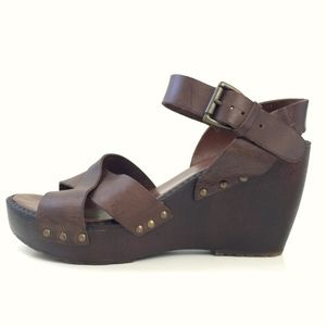 Aldo Leather Strappy Wooden Wedge Sandals 40